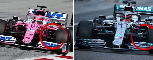 Mercedeksen viime vuonna ajattama W10-malli sisältää silmiinpistävän paljon samankaltaisia osia kuin tämän vuoden Racing Point. Kuvassa ympyröitynä autojen etujarrujen jäähdytysputket, joita FIAn tekninen osasto syynää.