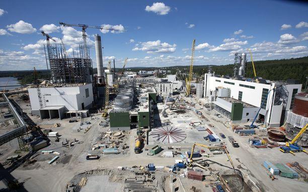 Kuvassa Metsä Groupin Äänekosken sellutehtaan rakennustyömaa heinäkuussa 2016.