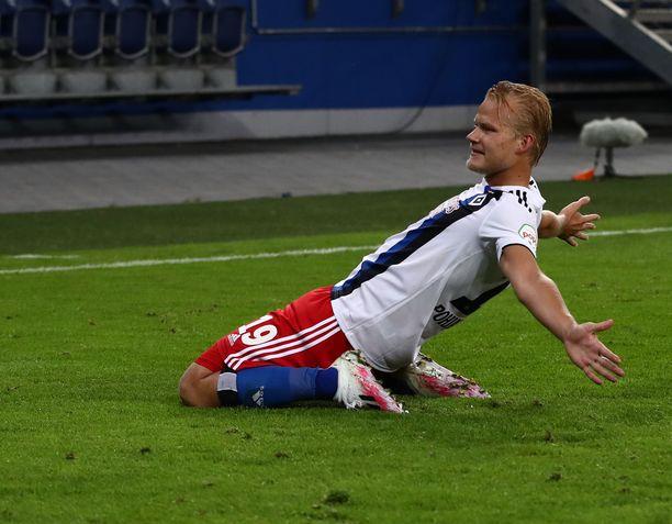 Joel Pohjanpalo oli HSV:n sankari perjantai-iltana. Arkistokuva.