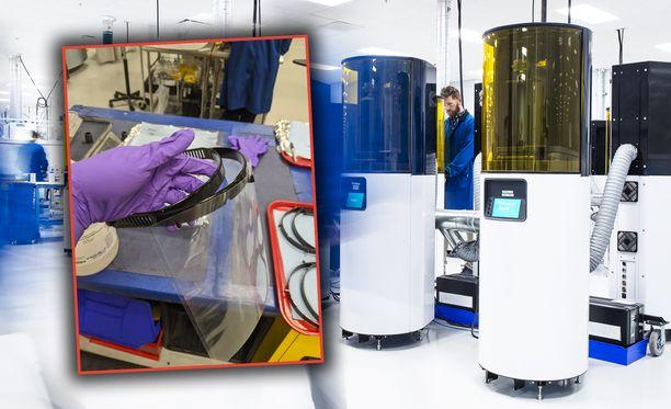 3D-tulostimilla voidaan tulostaa muovisia kasvosuojakehikoita.