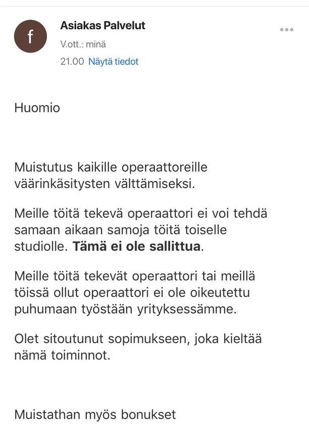 Tällaisen viestin Maria sai, kun Iltalehti oli julkaissut jutun 35-vuotiaan miehen kokemuksista työssä vastaavalla treffisivustolla.