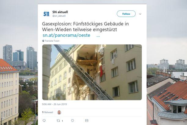 Wienissä sattuneessa räjähdyksessä on loukkaantunut vakavasti ainakin neljä ihmistä.