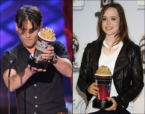 Johnny Depp vei mennessään kaksi popcorn-pystiä. Ellen Page palkittiin pääroolista hittielokuvasta Juno.