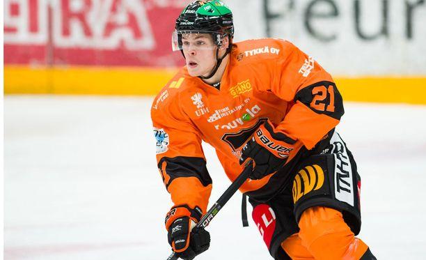 Ruotsalaishyökkääjä Malte Strömwall teki KooKoolle kaksi maalia toisessa erässä.