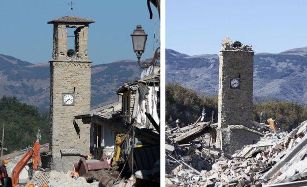 Sunnuntain järistys romahdutti Amatricessa sijaitsevan keskiaikaisen kellotornin.
