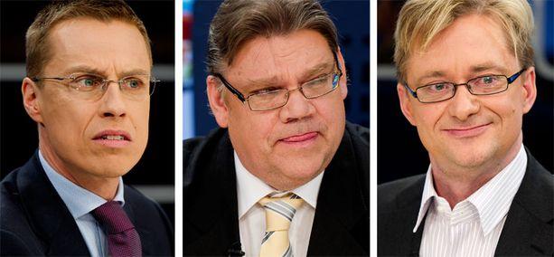 SANASOTA Alexander Stubb, Timo Soini ja Mikael Jungner ottivat yhteen EU-maiden tukipaketeista.
