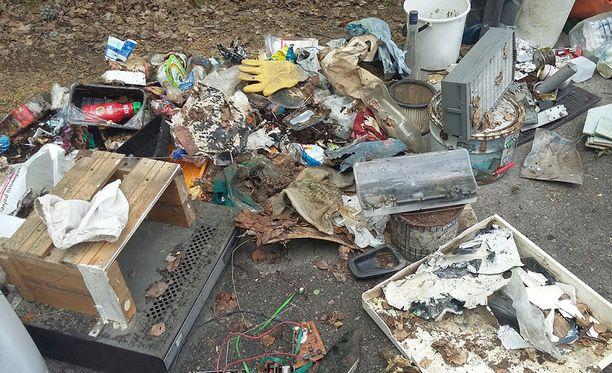 Erkkilät keräsivät metsästä satoja kiloja jätettä. Kuvassa pieni osa salakaatopaikan antimista.