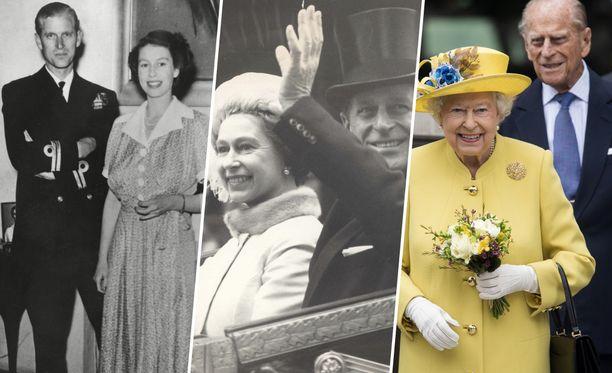 Kuningatar Elisabet II ja prinssi Philip ehtivät olla naimisissa yli 70 vuotta.