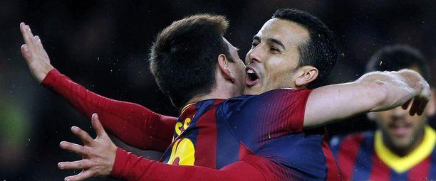 Lionel Messi antoi halauksen maalin tehneelle Pedro Rodriquezille.