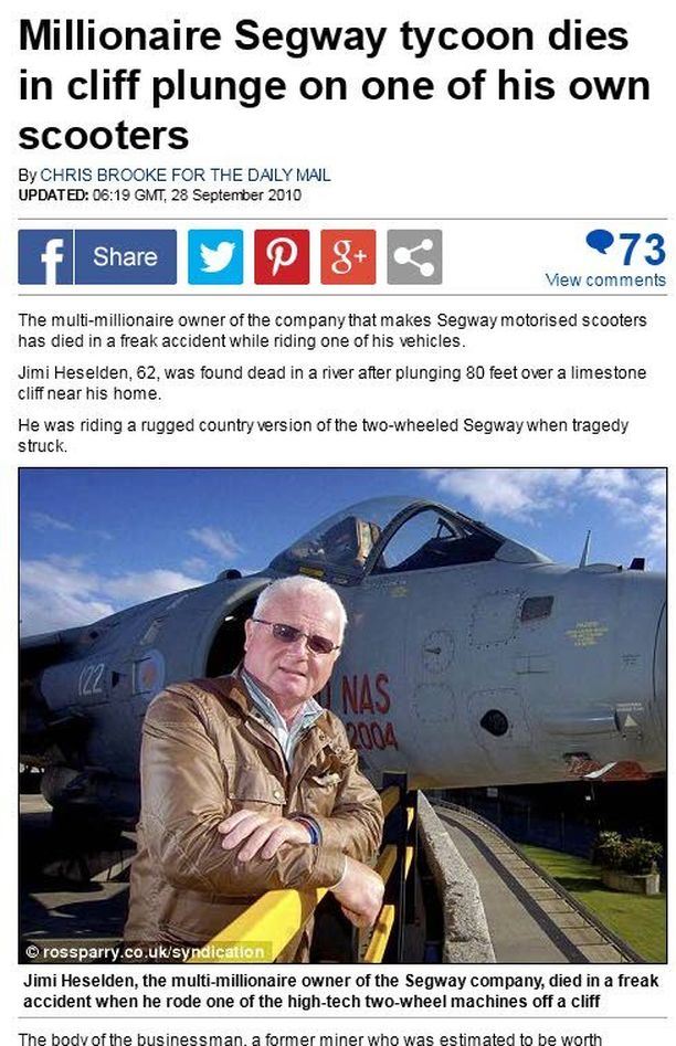 The Daily Mail uutisoi Jimi Heseldenin kuoleman viisi vuotta sitten.