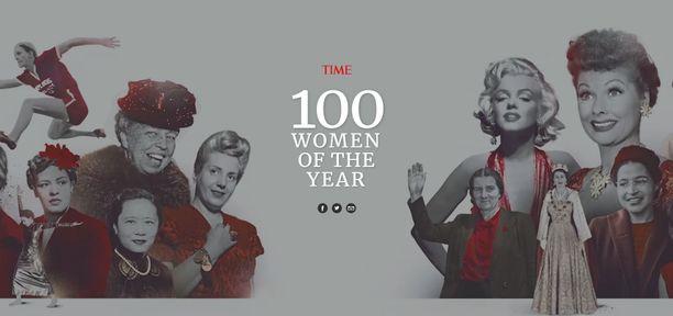 """Yhdysvaltalainen Time-lehti julkaisi listan """"vuosisadan naisista"""" verkkosivuillaan."""