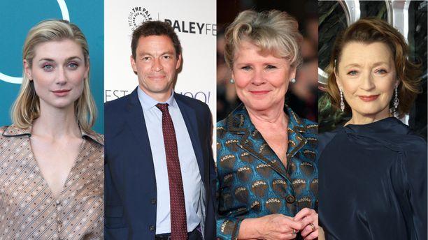 Elizabeth Debicki (vas.), Dominic West, Imelda Staunton ja Lesley Manville ovat brittisarjan uudet kuninkaalliset.