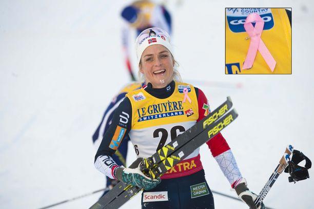 Therese Johaugilla ja kaikilla muilla hiihtäjillä oli pyhänä Rukan maailmancupissa Roosa nauha rinnassa.