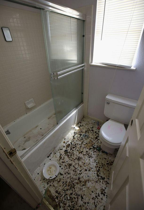 Tältä asunnon yhdessä kylpyhuoneessa näytti maanantaina. Muualla talossa käyneet toimittajat eivät eritteitä havainneet.