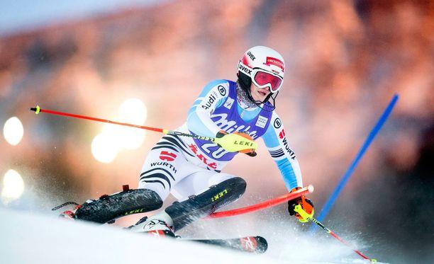 Christina Geiger on voittanut pujottelussa muun muassa nuorten maailmanmestaruuden.