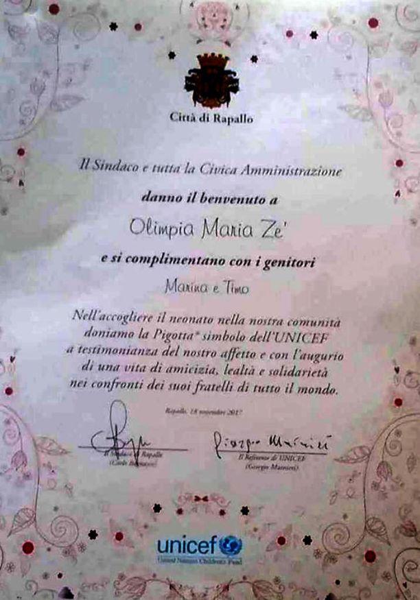 Olimpia sai kunniakirjan Unicefin ja Rapallon kaupungin järjestämässä Lapsen oikeuksien päivän juhlassa.
