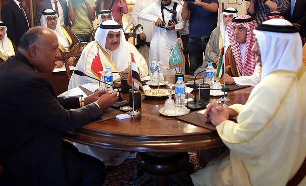 Qatarin kriisissä osallisten maiden ulkoministerit tapasivat aiemmin tässä kuussa Kairossa.