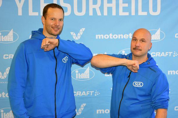 Tero Pitkämäki (vas.) ja Petteri Piironen ovat Urheiluliiton keihäänheiton lajivalmentajat.