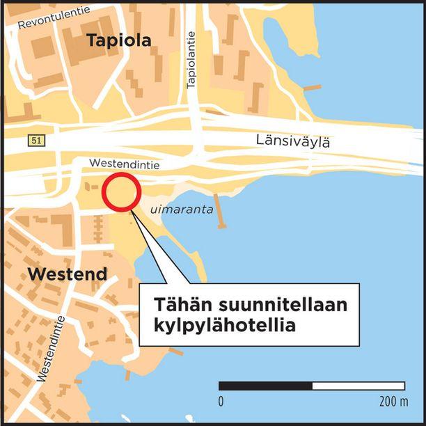 Runsaan hehtaarin suuruinen alue sijaitsee näkyvällä paikalla Länsiväylän-Westendintien tuntumassa.