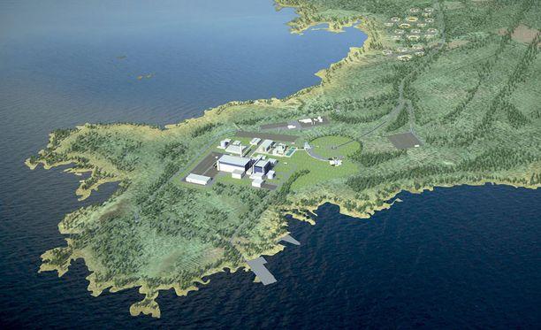 Havainnekuva Pyhäjoen Hanhikivenniemeen rakennettavasta Fennovoiman ydinvoimalasta.