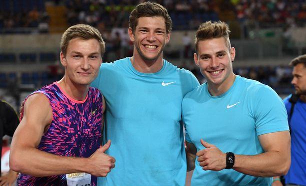 Thomas Röhler (vas.), Andreas Hofmann ja Johannes Vetter eivät vielä ole lunastaneet EM-kisapaikkaa huikeista heitoista huolimatta.
