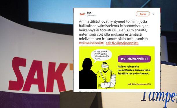 SAK:n Hannu Jouhkin mukaan kuvatoteutus on edelleen järjestön nettisivuilla eikä sitä ole tarkoitus vetää pois.