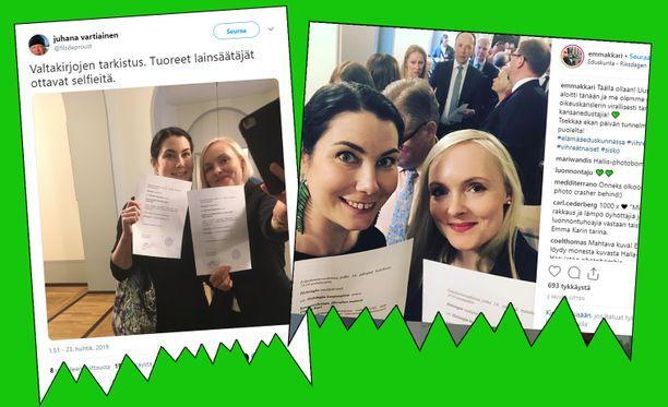 Emma Karin ja Maria Ohisalon ottama selfiekuva sekä Juhana Vartiaisen ottama kuva selfiekuvaa ottavista Emma Karista ja Maria Ohisalosta ovat nostattaneet ison kohun sosiaalisessa mediassa.