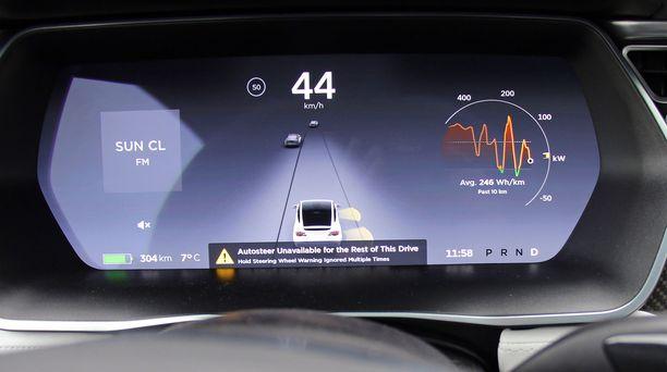 Teslan kamerat ja tutkat paikantavat muut tiellä liikkujat ja luovat näyttöön kolmiulotteiset kuvat. Auto skannaan jatkuvastí myös tien reunaviivaa esimerkiksi polkupyöräilijöiden takia. Ruudussa on myös päätös ilman käsiä ajamiselleni - tilapäisesti.