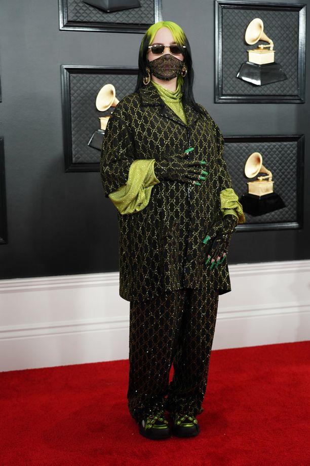 Billie Eilish Grammy-gaalassa sunnuntaina 26. tammikuuta 2020.