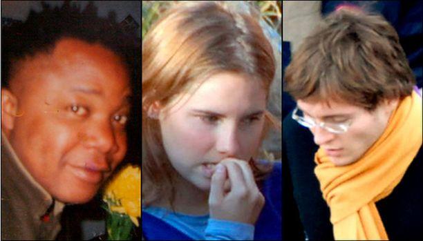 Raffaele Sollecito, Amanda Knox ja Patrick Diya Lumumba on pidätetty murhasta epäiltyinä.