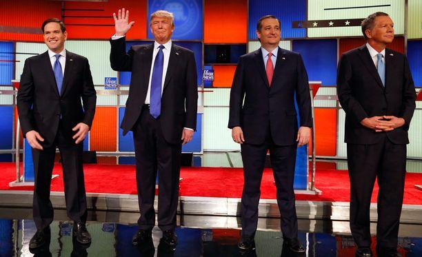 Marco Rubio, Donald Trump, Ted Cruz ja John Kasich tavoittelevat republikaanien presidenttiehdokkuutta.