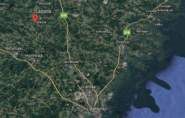 Poliisin tietojen mukaan mies katosi viime yönä Kärkölän Lappilassa. Mies löydettiin myöhemmin hengissä.
