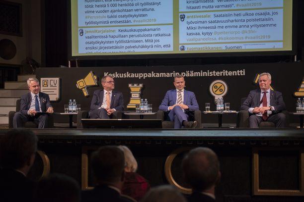 Puheenjohtajat Pekka Haavisto (vihr), Juha Sipilä (kesk), Petteri Orpo (kok) ja Antti Rinne (sd) kohtasivat viimeksi vaalitentissä Keskuskauppakamarin tentissä 11.12.2018.