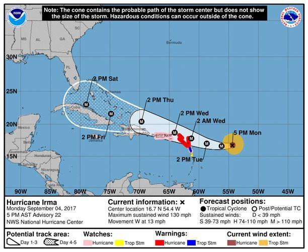 Viidenteen kategoriaan voimistunut Irma-hurrikaani iskee Karibianmeren saariin keskiviikkoaamuna Suomen aikaa.
