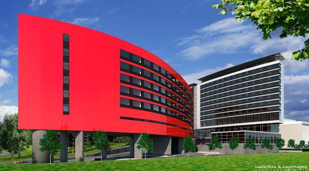 Aikuisten huoneet sijaitsevat Flamingon hotellin punaisessa laajennusosassa.