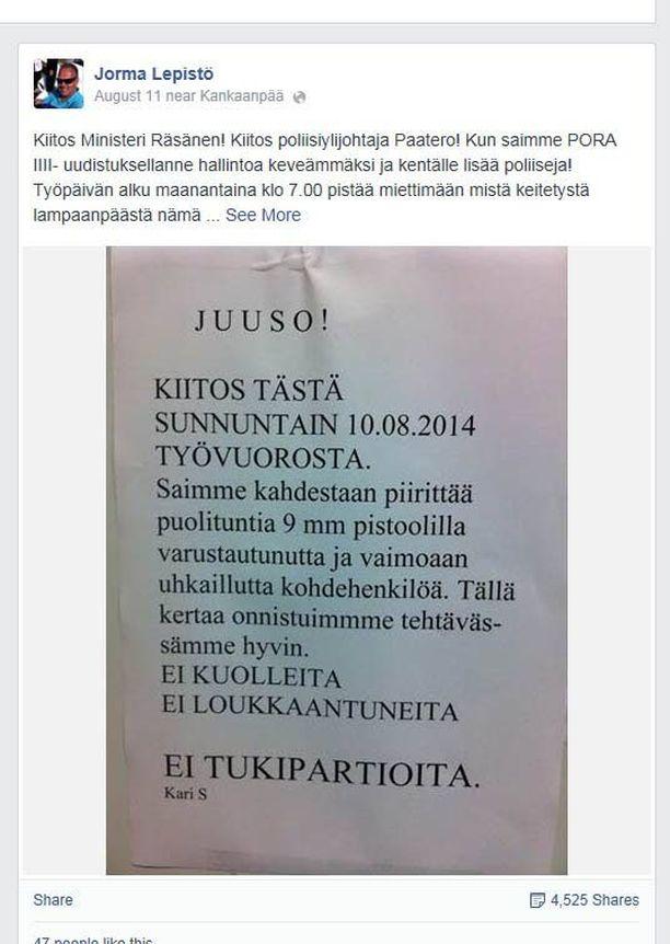 Kankaanpääläisen vanhemman ylikonstaapelin Jorma Lepistön Facebook-avautuminen käynnisti jälleen keskustelun poliisiresurssien riittävyydestä.