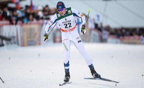 Matti Heikkinen oli sunnuntaina Seefeldin maailmancupissa paras suomalainen 13. sijallaan. Arkistokuva.