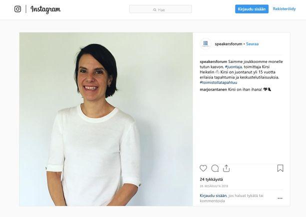 Puhujia ja juontajia välittävä Speakersforum on mainostanut Heikelia Instagramissa ja YouTubessa.