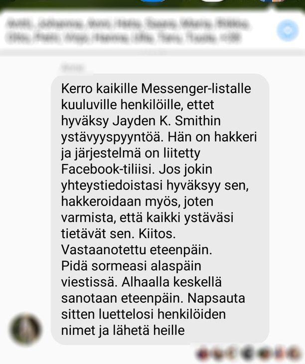 Facebookissa leviää suomenkielinen kiertokirje, jossa varoitetaan hakkerin kaveripyynnöstä. Viesti on huijausta, mutta siitä huolimatta se on tavoittanut jo monet.