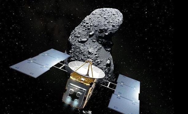 Taiteilijan näkemys luotaimesta lähestymässä Ryugu-asteroidia.