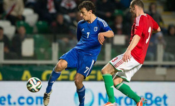 Suomi kuritti Unkaria 2-1 maaliskuussa Györissa. Roman Eremenko osui pilkulta.