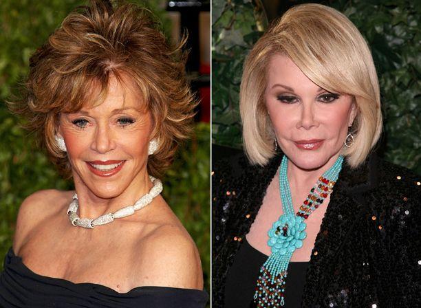 Jane Fondan ja Joan Riversin kasvot näyttävät luonnottoman kireiltä.