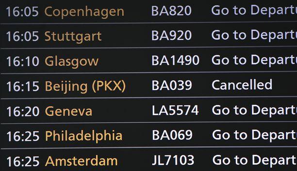 Lontoon Heathrown lähtöjä on peruttu. (Kuvituskuva)