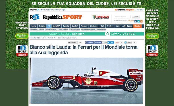 Tältä näyttää italialaislehti La Repubblican hahmotelma uudesta Ferrarista.