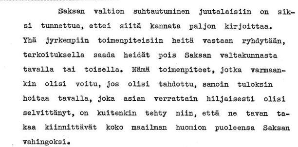 Kuvakaappaus ministeri Wuorimaan kirjoittamasta raportista.