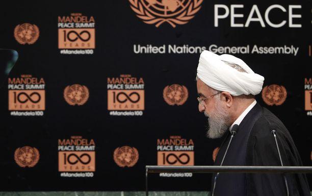 Iranin presidentti Hassan Rouhani osallistuu YK:n yleiskokoukseen Yhdysvalloissa.