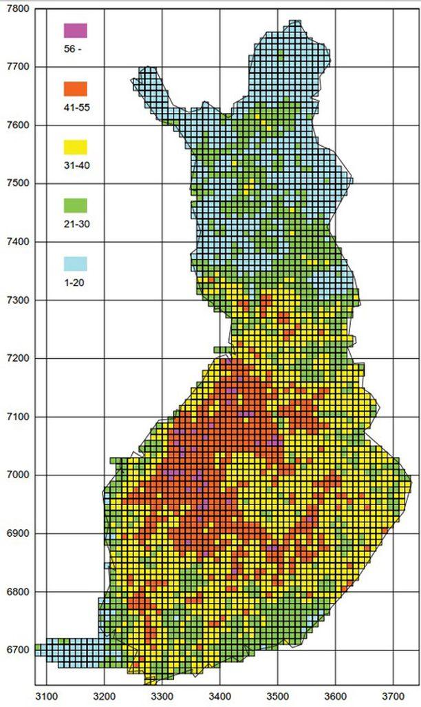 Salamatilasto vuosilta 1998-2013. Kartan saat suuremmaksi klikkaamalla sitä.