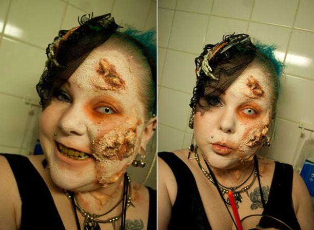Myös Nooran zombie-maskeeraus oli onnistunut.