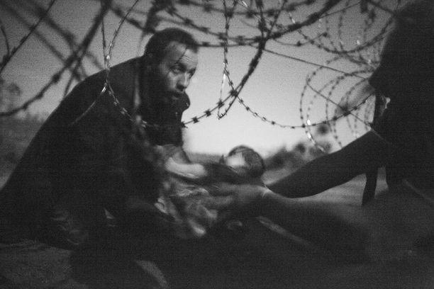 Vuoden lehtikuvaksi valittu ja WPP-kisan uutisotosten ykkössijan voittanut kuva pakolaisista Unkarin ja Serbian rajalla.