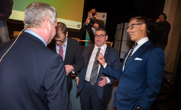 Rinne, Sipilä, Soini ja Stubb kohtasivat EK:n pääministeritentissä tammikuussa.